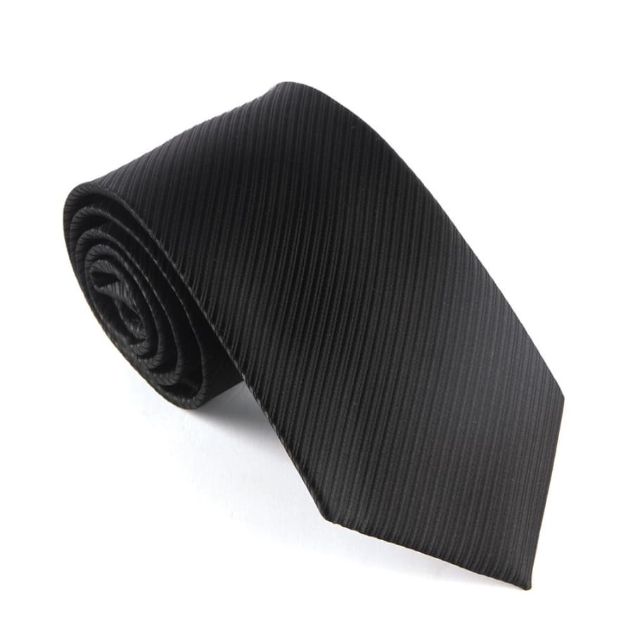 Classic Striped Necktie (Waterproof!) - black2 - Neckties
