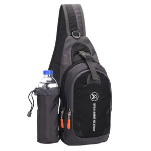 Crossbody Waterproof Sling Bag with Detachable Water Bottle Holder - Black - Bags