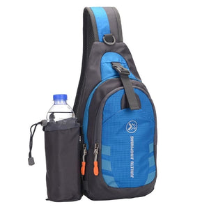Crossbody Waterproof Sling Bag with Detachable Water Bottle Holder - Blue - Bags
