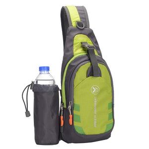 Crossbody Waterproof Sling Bag with Detachable Water Bottle Holder - Green - Bags