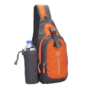 Crossbody Waterproof Sling Bag with Detachable Water Bottle Holder - Orange - Bags