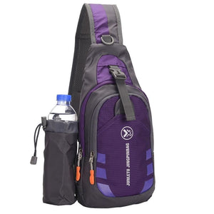 Crossbody Waterproof Sling Bag with Detachable Water Bottle Holder - Purple - Bags