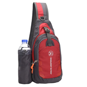 Crossbody Waterproof Sling Bag with Detachable Water Bottle Holder - Red - Bags