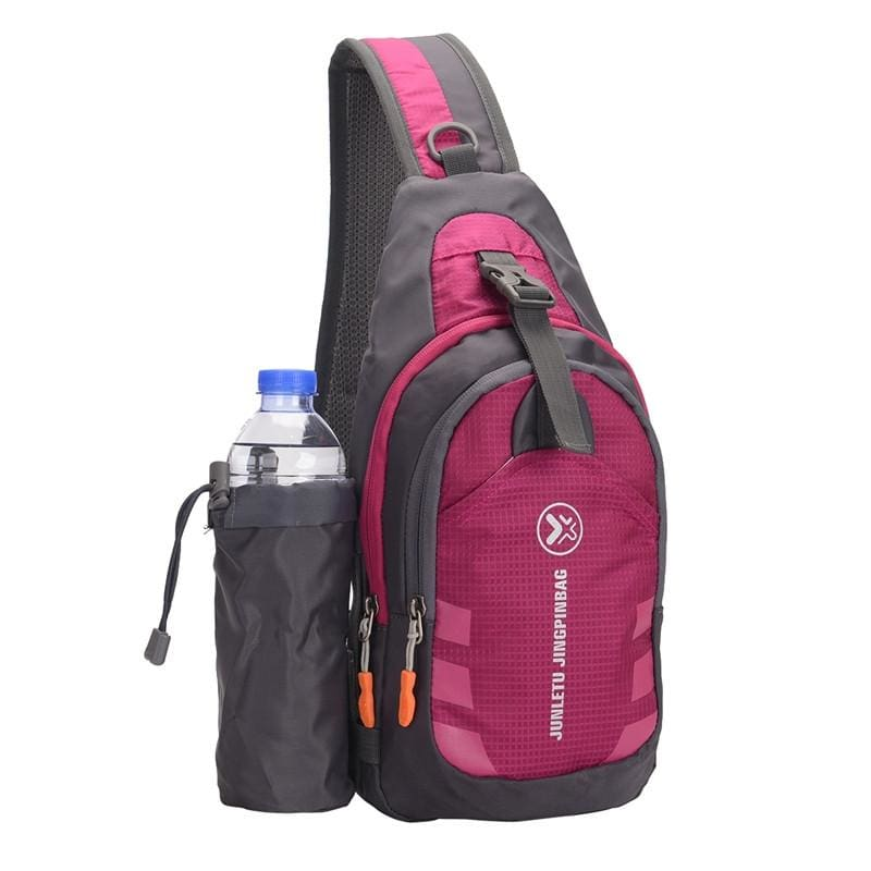 Crossbody Waterproof Sling Bag with Detachable Water Bottle Holder - Rose Red - Bags