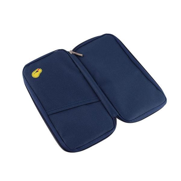 Extra Large Zippered Travel Wallet - Navy - Wallets