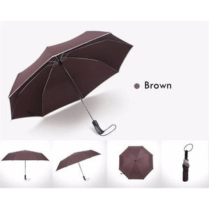 Fully-Automatic Business Folding Umbrella - Brown