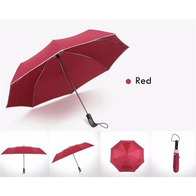 Fully-Automatic Business Folding Umbrella - Red
