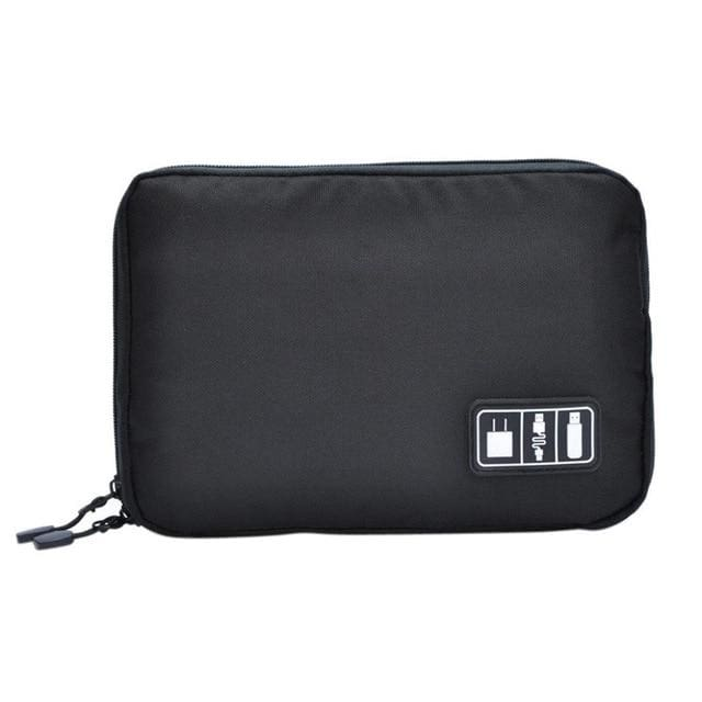 High Grade Nylon Waterproof Electronics Organizer - Black - Bags