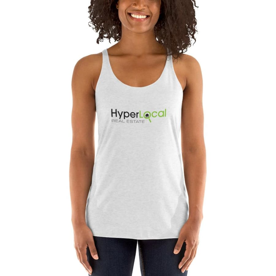 HyperLocal Real Estate Womens Racerback Tank - Heather White / XS