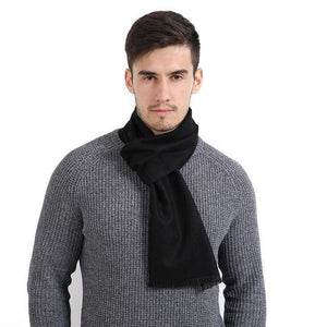 Mens Cashmere Solid Color Scarves - Black - Scarf