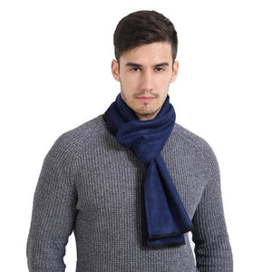Mens Cashmere Solid Color Scarves - Blue - Scarf