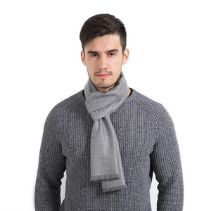 Mens Cashmere Solid Color Scarves - Light Gray - Scarf