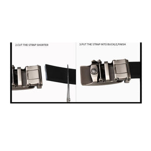 Mens Genuine Leather Automatic Ratchet Buckle Belt - Rugged - Belts