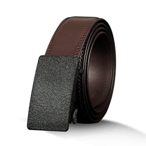 Mens Genuine Leather Automatic Ratchet Buckle Belt - Rugged - brownCZ069 / 110cm - Belts