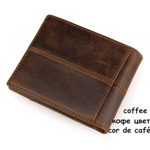 Mens Genuine Leather Wallet - Classic - brown - Wallets