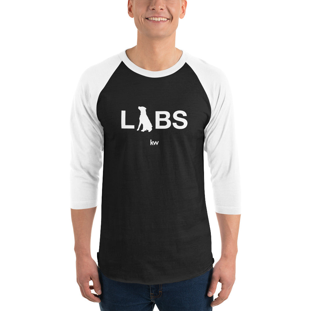 White LABS Logo 3/4 Sleeve Raglan Shirt