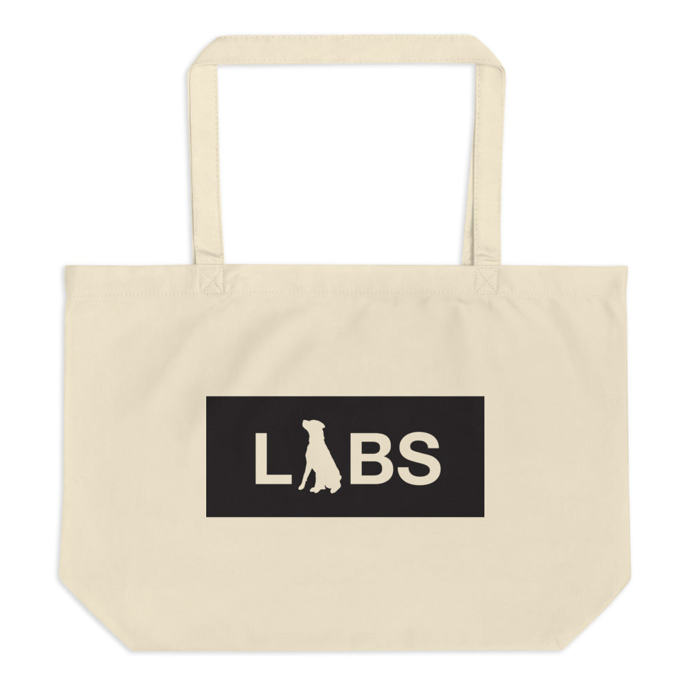 Large Black Block LABS Organic Tote Bag