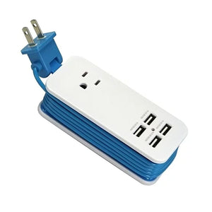 Portable Charging Station with 4 USB Ports - Blue - Technology
