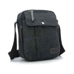 Small Canvas Messenger Bag - Black - Bags