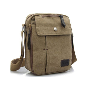 Small Canvas Messenger Bag - Brown - Bags