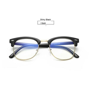 Unisex Blue Light Blocking Glasses - Black n Gold - Glasses