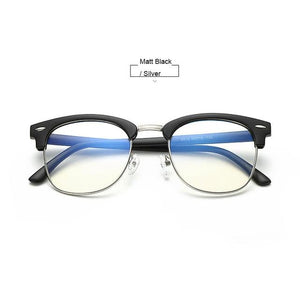 Unisex Blue Light Blocking Glasses - Matt Black n Silver - Glasses