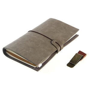 Vintage Notebook with Pen Clips - Dark Grey - Books