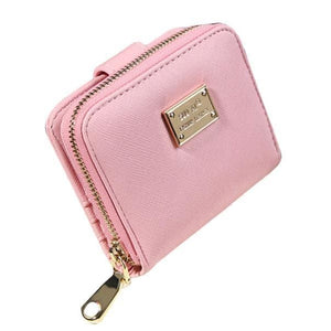 Womens Compact Purse Clutch Wallet - Pink - Wallets
