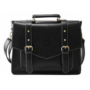 Womens Messenger Handbag Briefcase - Black - Bags