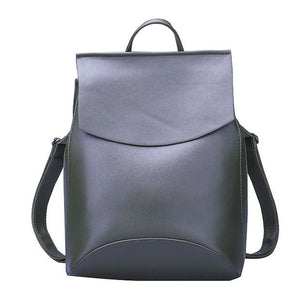 Womens Petite Leather Backpack - Army Green / China - Bags