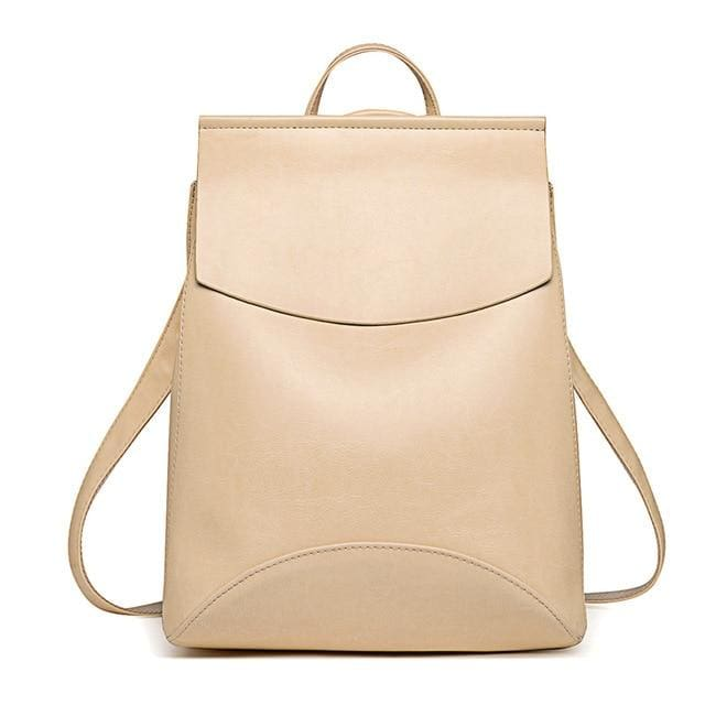 Womens Petite Leather Backpack - Beige / China - Bags