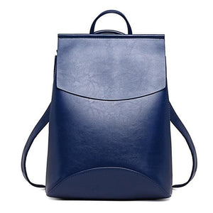 Womens Petite Leather Backpack - Blue / China - Bags
