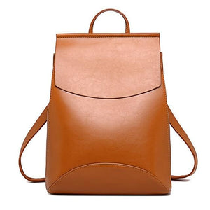 Womens Petite Leather Backpack - Brown / China - Bags