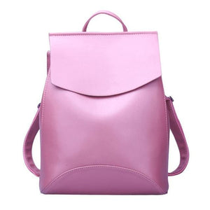 Womens Petite Leather Backpack - Dark Pink new / China - Bags