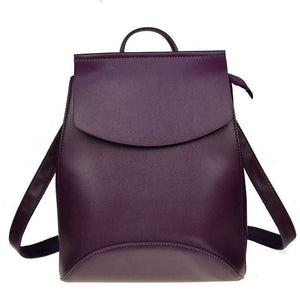 Womens Petite Leather Backpack - dark Purple / China - Bags
