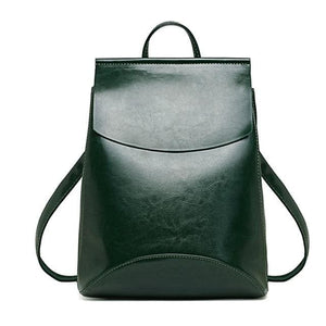 Womens Petite Leather Backpack - Green / China - Bags