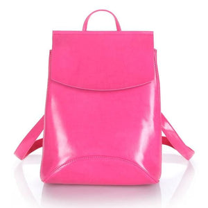 Womens Petite Leather Backpack - Rose Red / China - Bags