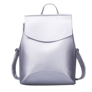 Womens Petite Leather Backpack - Silver white / China - Bags