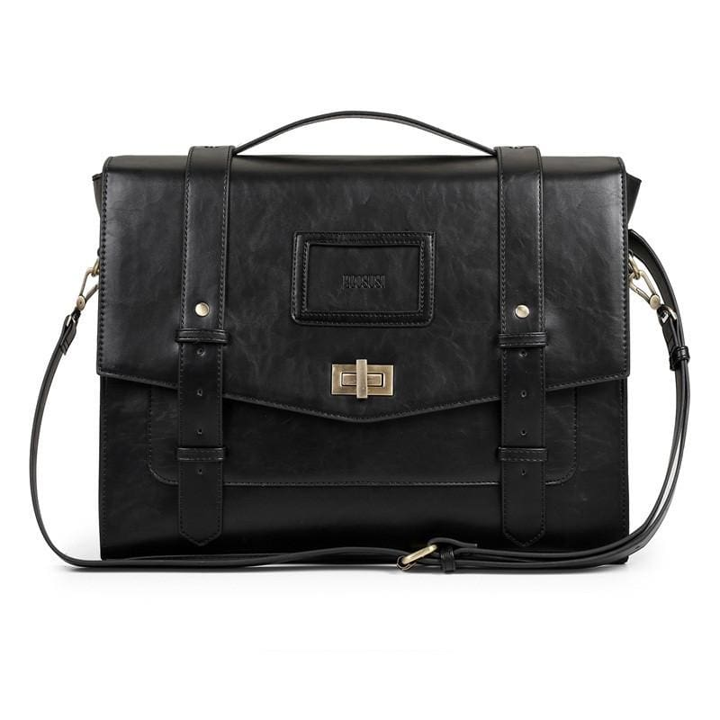 Womens Vintage Messenger Briefcase - Black - Bags