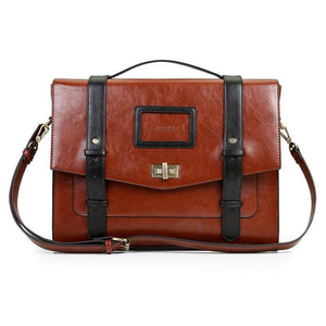 Womens Vintage Messenger Briefcase - Black and brown - Bags