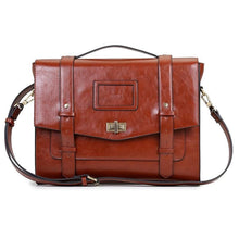 Womens Vintage Messenger Briefcase - Brown - Bags