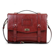 Womens Vintage Messenger Briefcase - Red - Bags