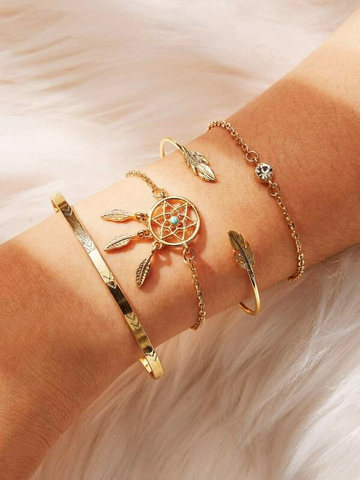 Dreamcatcher & Leaf Design Bracelet 4pcs