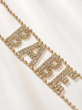 Luxury Babe Letter Rhinestone Choker Necklace - uniquelebal