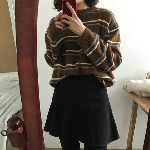 Pullovers Striped O-Neck Sweaters