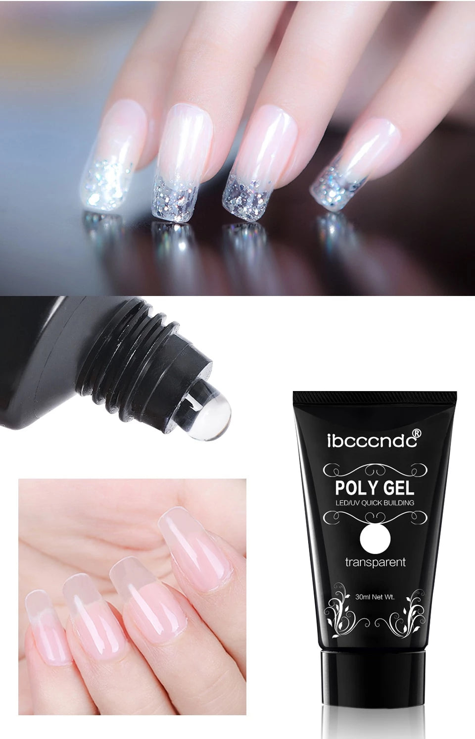 6 Colour Crystal Clear Polygel Nail Acrylic - uniquelebal