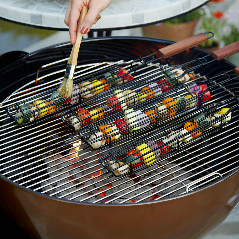 Non-stick Slim Kabob Grilling Baskets for Outdoor Grill