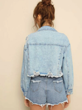 Ripped Raw Hem Flakes Crop Denim Jacket