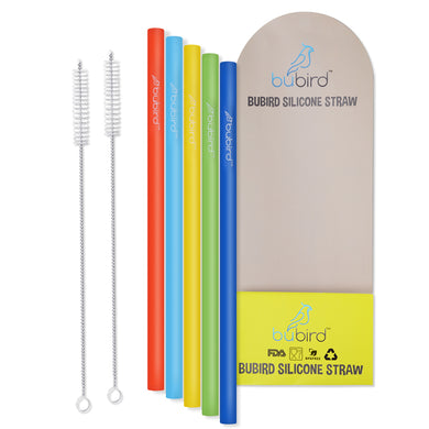 BUBIRD 10inches Big Silicone Straws