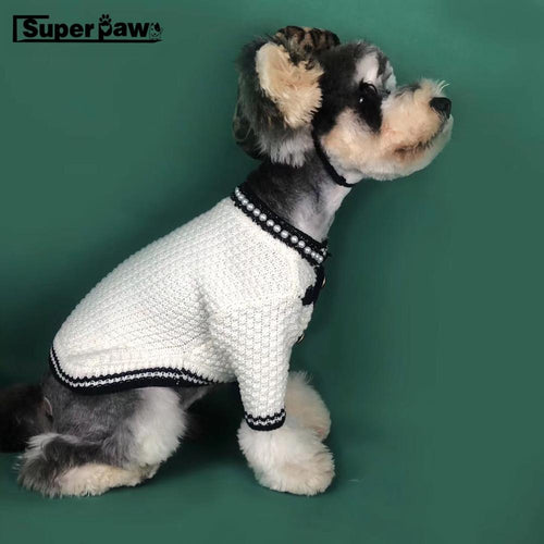 High Fashion Dog Sweater Knitted in Black or White available